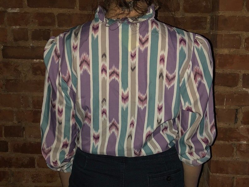 70s Blouse  High Neck Top  Printed Button Down Shirt  Ruffle Collar Shirt  High Neck Ruffle Blouse  Vintage Button Up  Aztec Print Top