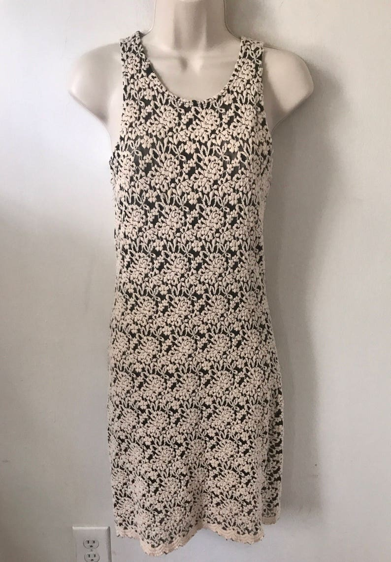 Vintage Dress Off White Lace Dress 90s Dress Sleeveless Dress Short Lace Dress Tank Top Dress Lace Dress