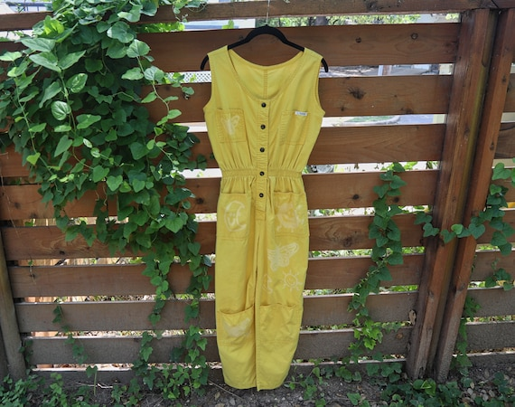 Vintage Jumpsuit / Yellow Jumpsuit / Sleeveless Ju