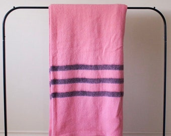 a80fa8d1a1 Vintage Pink Wool Blanket with Black Stripes