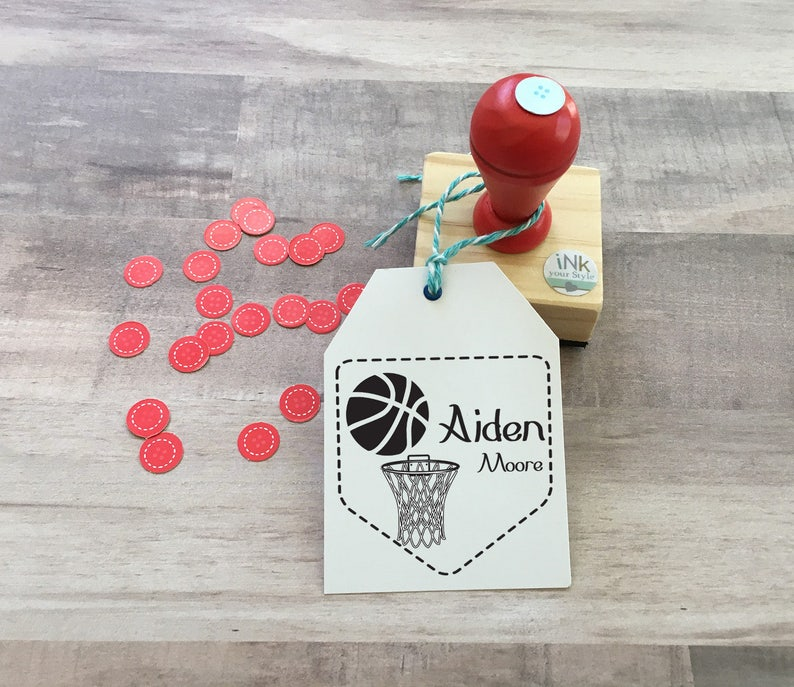 Personalized Basketball Rubber Stamp Custom Kids Children Gift Tags Boy Or Girl Sports