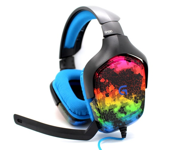 Logitech G430 7 1 DTS Headphone - Custom Painted Surround Sound Gaming  Headset for PC & Playstation 4 - Design (Rainbow Hex)