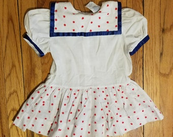 Vintage sailor style white with red polka dot dress - sz 3