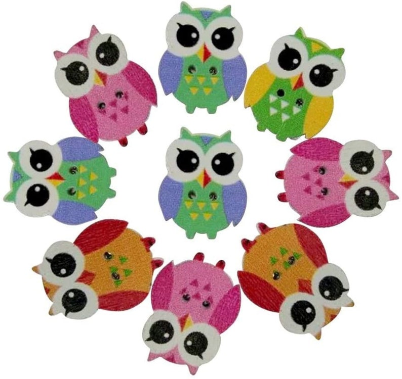Lot of 10 Owl shaped Spring Wooden Buttons 21mm x 25mm 2 holes