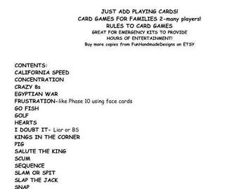Instructions for 21 Family Friendly Card Games