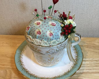 Pin Cushion  ~ in a Vintage teacup and saucer