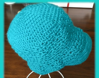 Chemo cap.  Brimmed chemo cap.  Handmade crocheted chemotherapy cap. Teal available now. Chemotherapy survivor cap. Keep head warm chemo hat