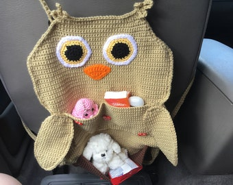 Owl Car Organizer Back Of Seat Owls Pocketed Kids Stuff Clean