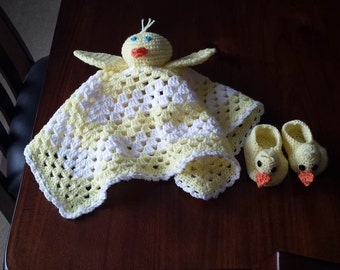 Handmade crocheted baby ducky lovey blanket and matching ducky booties size 0-6 months unique and adorable gift for baby