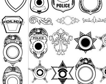 police shields, svg bundle, police officer vector art, dxf, ai, cdr, emp, cut file, silhouette, cricut, instant download,