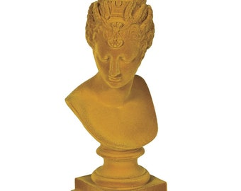 Yellow Flock Bust Vintage Inspired Eclectic Decor Lady Home Interiors Greek Bust