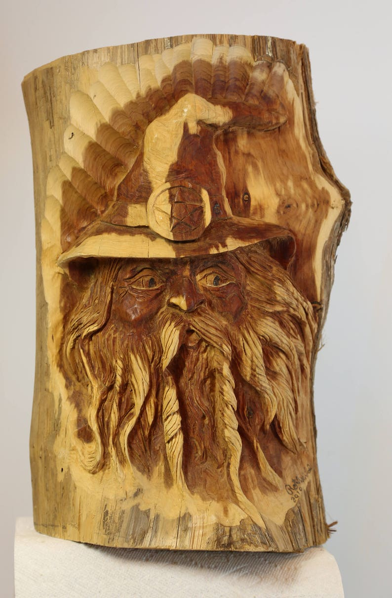 Magical merlin hand carved tennessee cedar sculpture etsy