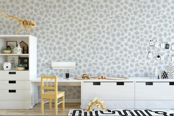 Gray Leopard Print Wallpaper Removable Wallpaper Peel Etsy