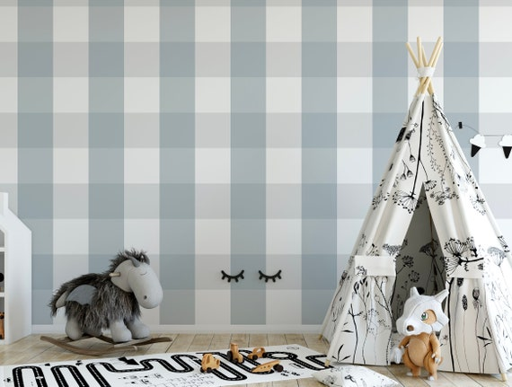 Dusty Blue Xl Buffalo Check Removable Wallpaper Blue And Gray Plaid Peel And Stick Wallpaper Self Adhesive Wall Mural