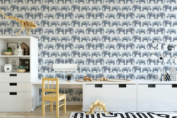 Gray Elephant And Rhino Watercolor Removable Wallpaper Etsy