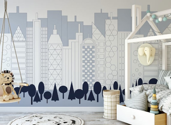 Blue City Skyline Wallpaper Removable Wallpaper Peel And Etsy