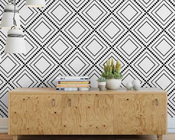 Modern Geometric Diamond Black And White Removable Wallpaper Sophisticated Peel And Stick Wallpaper Self Adhesive Reusable Wall Mural