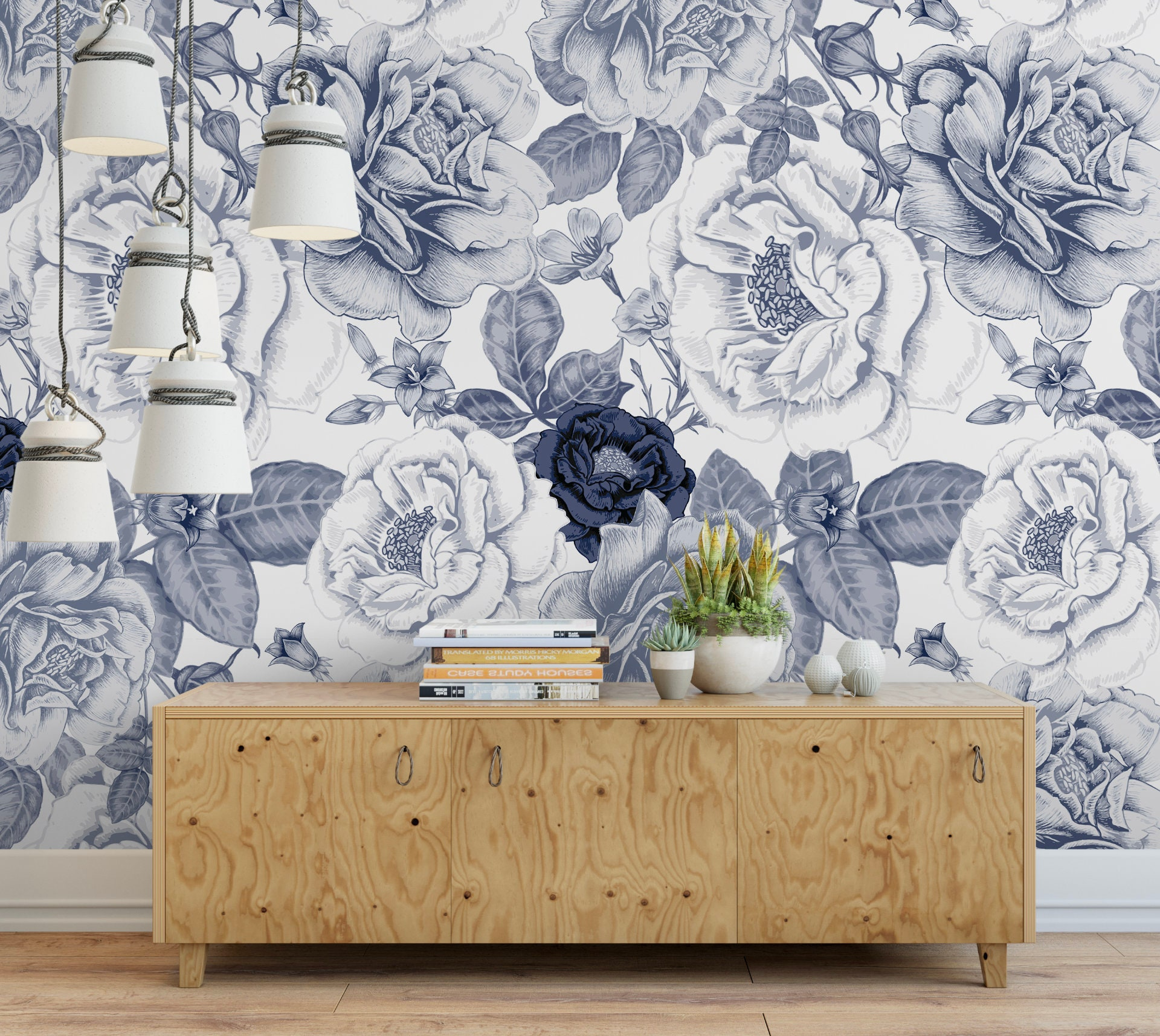 Vintage Navy Roses Removable Wallpaper Blue And White Etsy