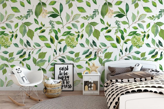 Green Leaves Removable Wallpaper Green Floral Peel And Stick Wallpaper Self Adhesive Reusable Wall Mural