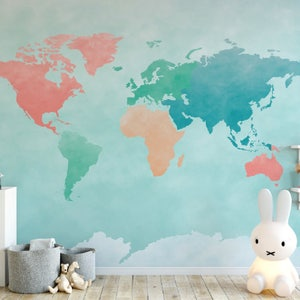 Montessori Colors Watercolor Map Wallpaper  Map Wall Mural  Self-Adhesive  Reusable  Removable Wallpaper  Peel and Stick