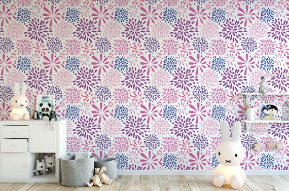 Flower Works Pink Removable Wallpaper Purple Peel