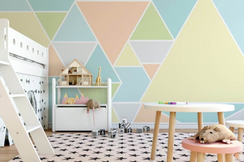 Green and Gray Triangles Removable Wallpaper  Triangle Peel and Stick Wallpaper  Self-Adhesive Reusable Wall Mural Abstract Peach