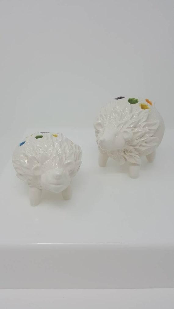 Llama and hedgehog miniature desk vases