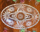 Vintage Anchor Hocking Star Of David EAPC Oval Serving Bowl Clear Pressed Cut Glass Candy Dish Hobstar Fan Pattern W Scalloped Edges