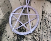 Handmade Pentagram Pentacle Necklace - Soft Suede Leather Lace Wrapped Steel