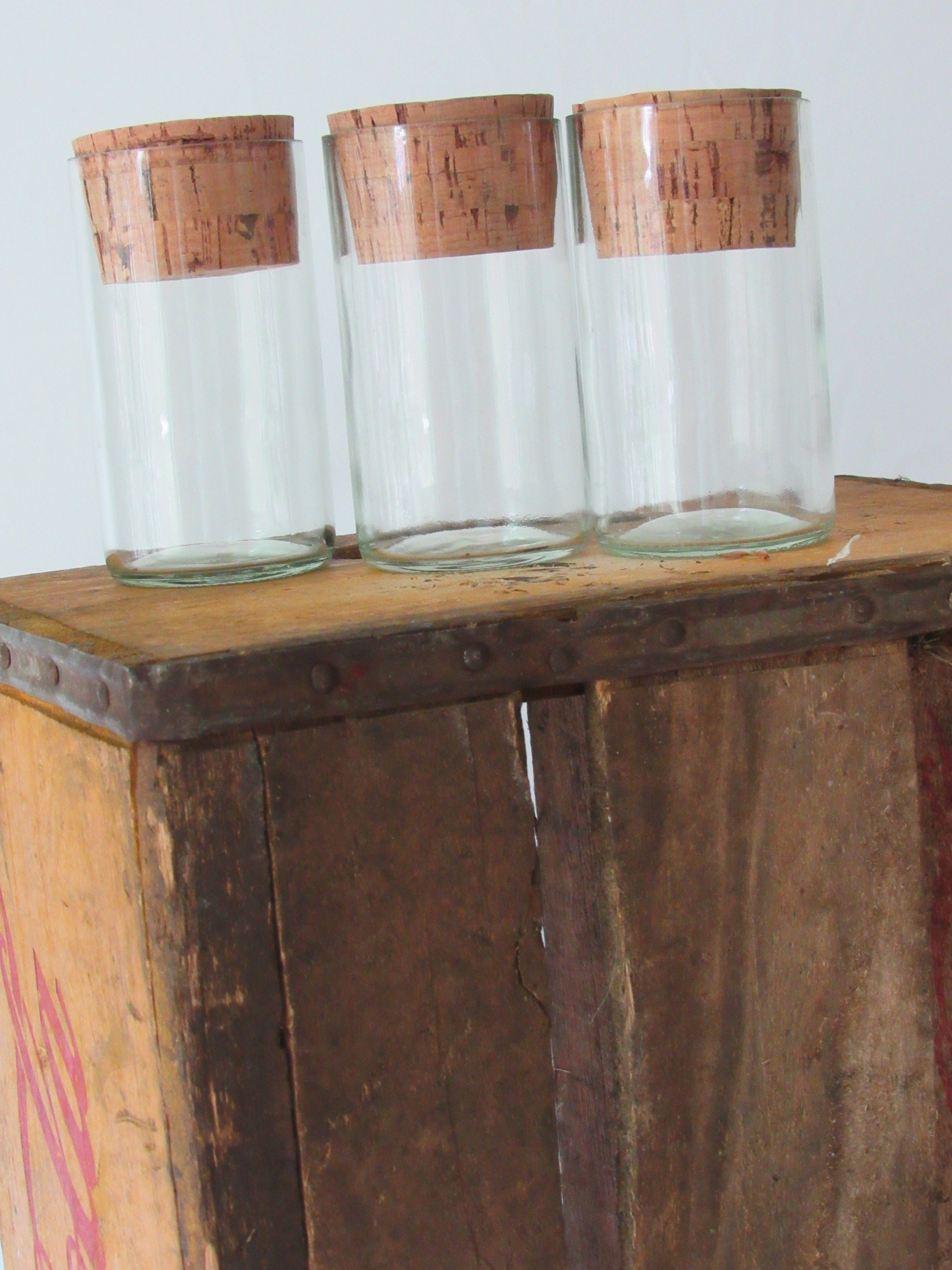 Small Upcycled Bottle Canister Set Of 3 With Natural Cork Top Etsy