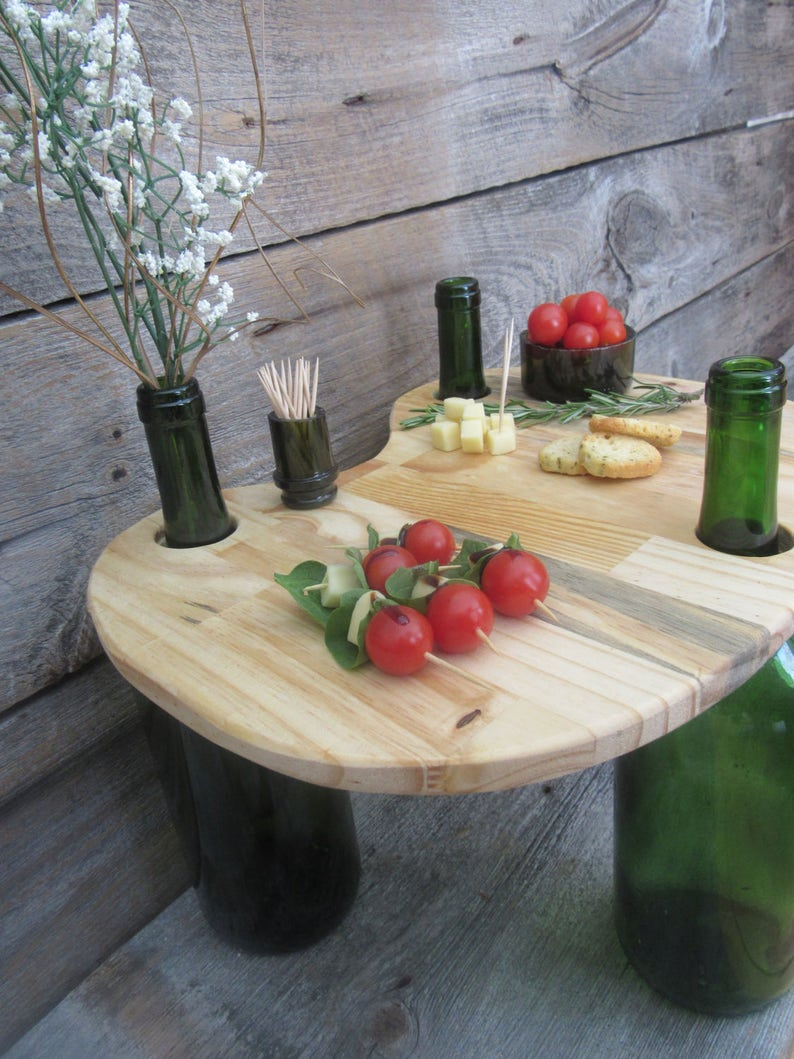 Brilliant Wine Bottle And Beer Bottle Wood Table Cheese Appetizer Centerpiece Alphanode Cool Chair Designs And Ideas Alphanodeonline