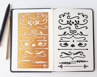 Planner Stencil Bullet Journal Stencil Ornament Stencil - fits A5 journal & Midori Regular