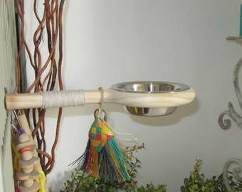 Bird Perch with bowl,Bird Toys, no mess feeder dish for parrots or sugar gliders, great addition to any bird cage, Snack-N-Perch,Bird bath