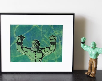 """Cyclops Toy Artwork - Handmade relief print and monoprint collage, """"Cyclops 1"""""""