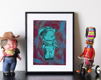"""Cowgirl Doll Artwork - Handmade linocut print and monoprint collage, """"Cowgirl 2"""""""