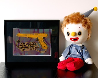 "Nintendo Zapper - Handmade relief print and monoprint collage, ""Zapper 4"""