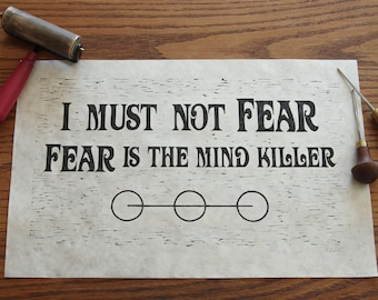 Fear is the Mind Killer - Limited Edition Relief Print, inspired by DUNE by Frank Herbert