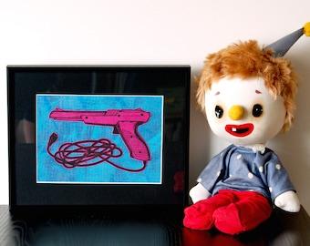 "Nintendo Zapper - Handmade relief print and monoprint collage, ""Zapper 2"""
