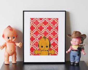 """Toy Kewpie Doll Artwork - Matted, Handmade relief print and monoprint collage, """"Kewpie 5"""""""