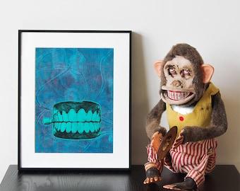 "Chattering Teeth - Handmade linocut print and monoprint collage, ""Teeth 8"""