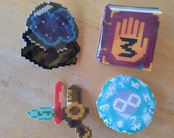 Gravity Falls Pixel Art Plastic Pins - Buttons of The Rift, Journal 3, The Infinity Die, The Memory Gun