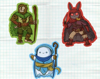 Cryptid Sticker Pack - DnD cryptids - Rogue Mothman, Druid Bigfoot, Cleric Ghost