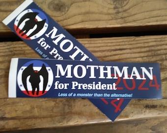 Mothman for President Funny 2024 Vinyl Bumper Sticker - Cryptids for President