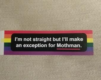 Gay Mothman Bumper Sticker Funny Cryptid Meme Pride LGBT
