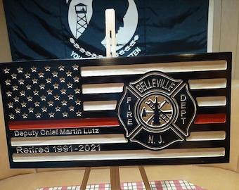 Personalized Fireman Flag, Fire Chief, Wooden Flag, Engraved Flag, Fire Fighter, Fireman gift, Flag, 1st responder, Fireman, firefighter