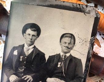We Got Medals! - Victorian Tintype Antique Photograph