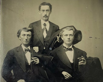 Men with Cigars - Victorian Tintype Antique Photograph