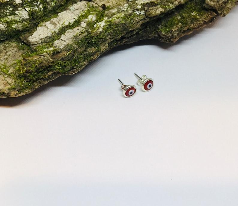 7mm Evil Eye Earrings Girls Earrings Tiny Evil Eyes Post Earrings Red Evil Stud Earring