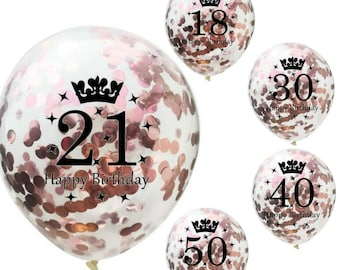 18th 21st 30th 40th 50th Rose Gold Birthday Decorations Happy Confetti Balloons