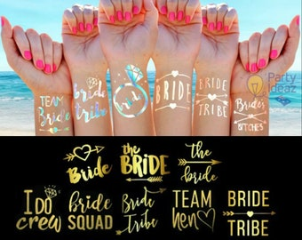 Hen Party Tattoos | Hen Night Accessories | Temporary Tattoos | Bride Tribe | Team Bride | Brides Squad |Rose Gold | Metallic Silver | Gold